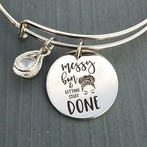 Jewelry - Messy bun and getting stuff done charm bracelet